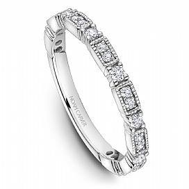 18k White Gold Vintage Style Band STA49-1WM - KLARITY LONDON