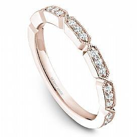 18k Rose Gold Vintage Style Diamond Band STB19-1RS-D - KLARITY LONDON