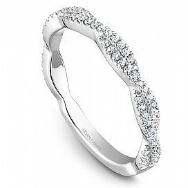 18k White Gold Swirl Style Diamond Band STB20-1WS-D - KLARITY LONDON