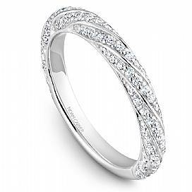18k White Gold Swirl Style Diamond Band STB23-1WS-D - KLARITY LONDON