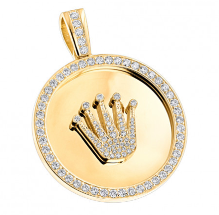 CUSTOM MADE SOLID 18K GOLD CROWN DIAMOND PENDANT ROLEX STYLE MEDALLION 6CT - KLARITY LONDON