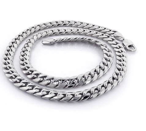 WHITE GOLD MIAMI CUBAN LINK CURB CHAIN 10K 22-40IN 9MM - KLARITY LONDON