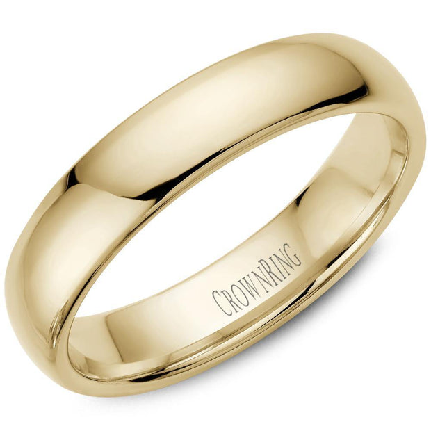 18K YELLOW GOLD CLASSIC COURT SHAPE PLAIN BAND - KLARITY LONDON