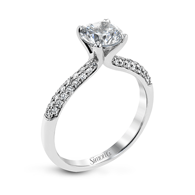 18k White Gold Solitaire Pave Diamond Ring TR431 - KLARITY LONDON