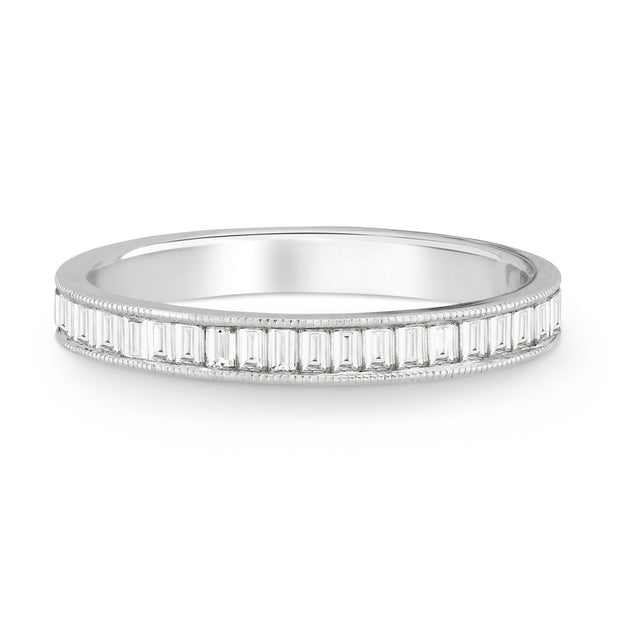 CHANNEL SET BAGUETTE DIAMOND BAND WITH MILGRAIN - KLARITY LONDON