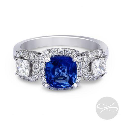 Sapphire Halo Three Stone - KLARITY LONDON