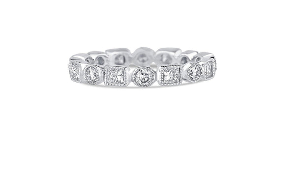 Beverley K Round and Princess Shaped Band with Milgrain - KLARITY LONDON