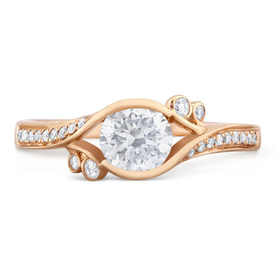 18k Rose Gold Swirl Style Diamond Ring - KLARITY LONDON