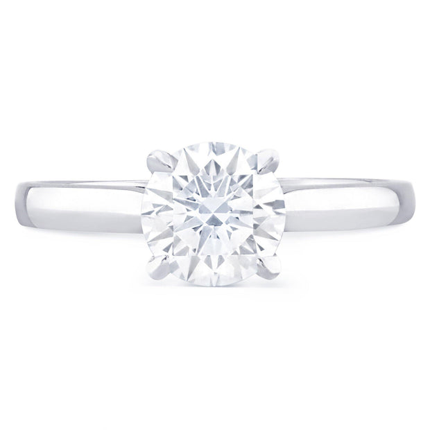 18k White Gold Classic Diamond Solitaire Ring - Round Brilliant Cut (GIA F VS2 0.30ct) Excellent Cut - KLARITY LONDON
