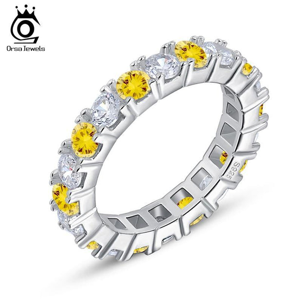 ORSA JEWELS Luxury Yellow & Clear Austrian Zircon Women Wedding Bands Ring Silver Color  Fashion Jewelry OR60 - KLARITY LONDON
