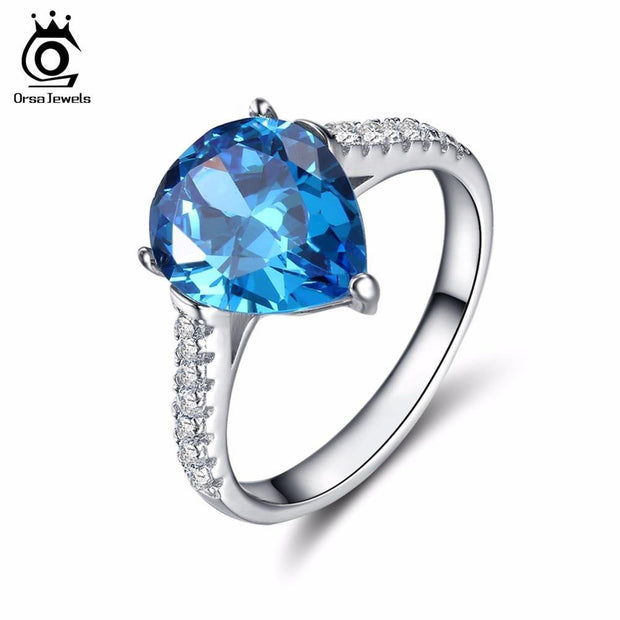 ORSA JEWELS Unique Silver Color Ring with 2.5ct Water Drop Blue Cubic Zirconia for Women 2019 New Fashion Women Rings OR151 - KLARITY LONDON