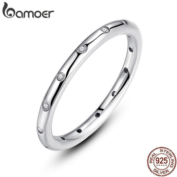 BAMOER 2 Colors 925 Sterling Silver Droplets Stackable Finger Classic Ring for Women Wedding Jewelry Valentine's Day Gift PA7132 - KLARITY LONDON