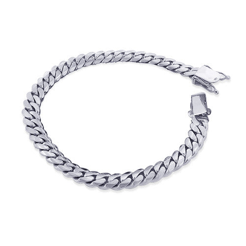 WHITE GOLD MIAMI CUBAN LINK CURB CHAIN FOR MEN 7.5 INCH