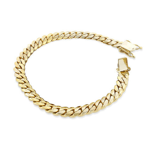 YELLOW GOLD MIAMI CUBAN LINK CURB CHAIN FOR MEN 7.5 INCH