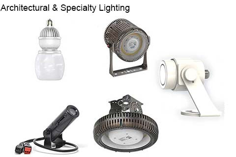 several images of LED flood, spot & specialty lighting