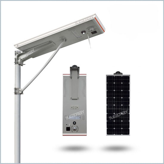 Solar LED parking lot light with WiFi camera, 2,840 lumen