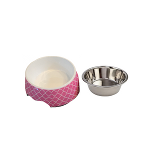 Cutesy Pink Medium Dog Bowl Pet Bowl | Cutie Ties