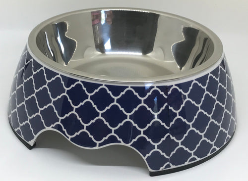 Modern Navy Medium Size Dog Bowl