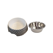 Load image into Gallery viewer, Modern Gray Medium Dog Bowl Pet Bowl | Cutie Ties