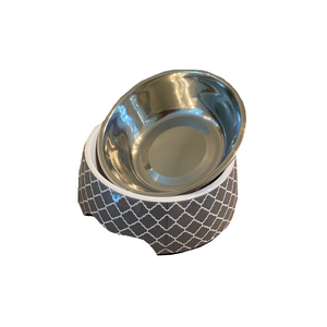Modern Gray Medium Dog Bowl Pet Bowl | Cutie Ties