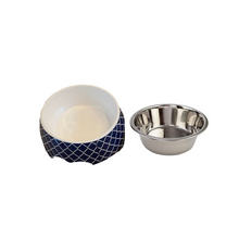 Load image into Gallery viewer, Modern Navy Medium Dog Bowl Pet Bowl | Cutie Ties