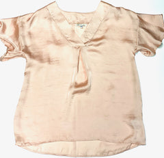 V-Neck Box Pleat Top - Light Pink