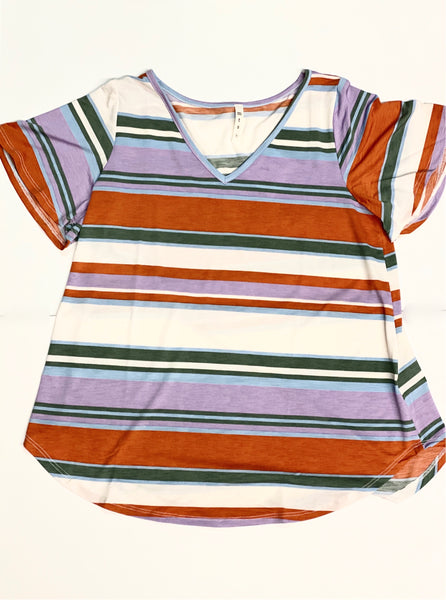 Purple/Orange Colorful Striped Tee