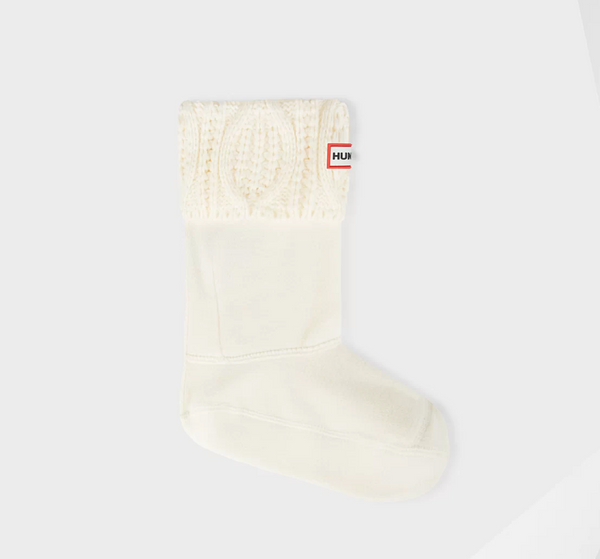 Cable Knit Boot Socks - White