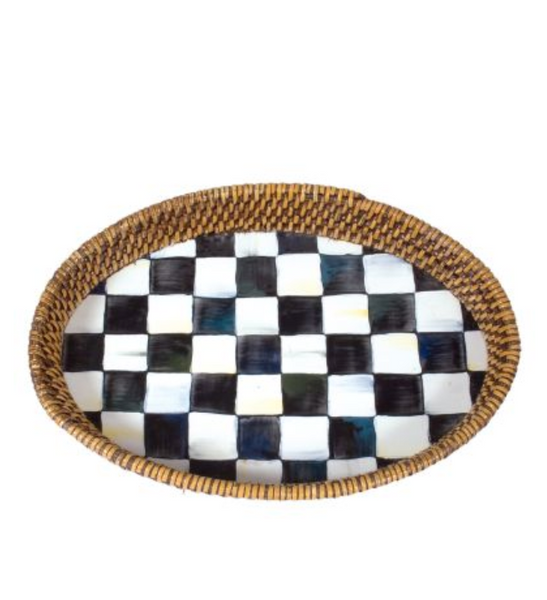 Lg. Rattan + Enamel Tray - Courtly Check