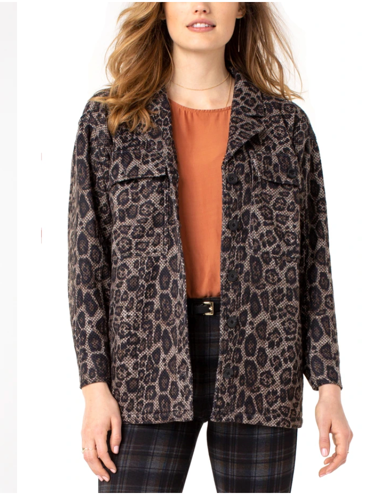 Button Front Boxy Jacket - Leopard