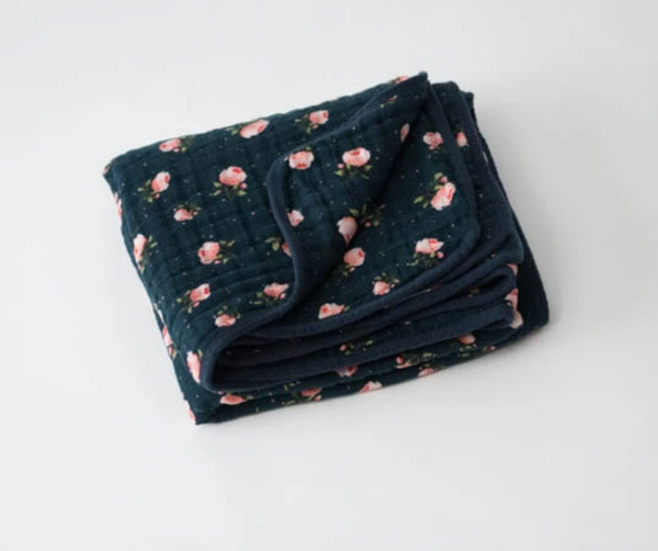 Cotton Muslin Quilt - Navy Floral