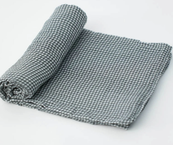Cotton Single Swaddle - Navy Gingham
