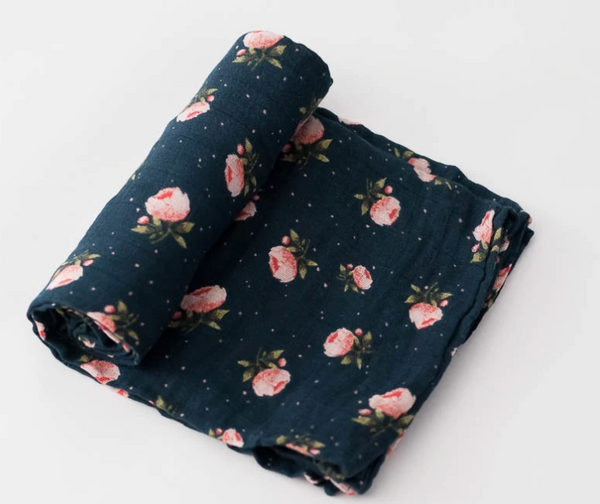 Cotton Single Swaddle - Midnight Rose