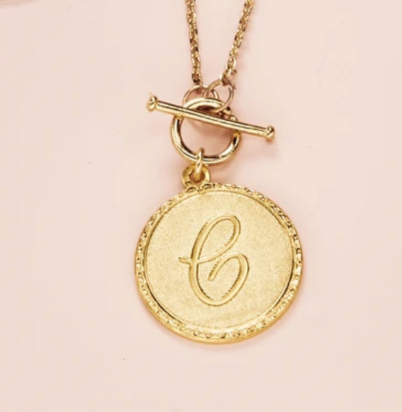 Mini Coin Initial Necklace - Gold