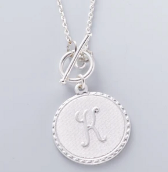 Mini Coin Initial Necklace - Silver