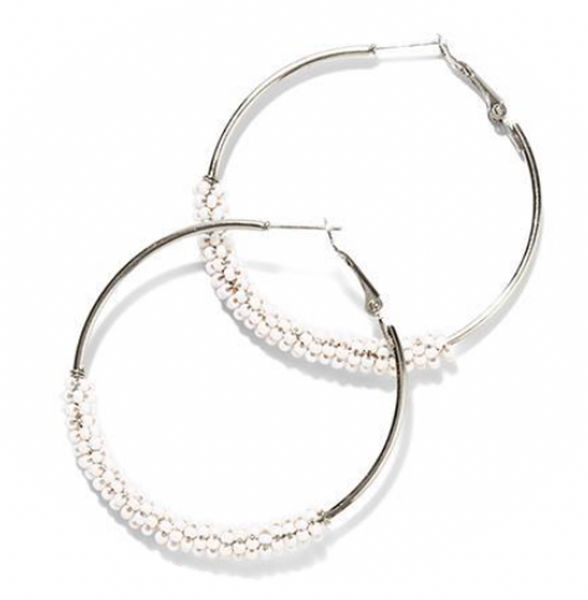 Beaded Hoops - White Silver