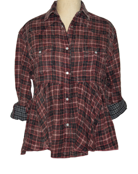 Red Plaid Button Up Skirt Jacket