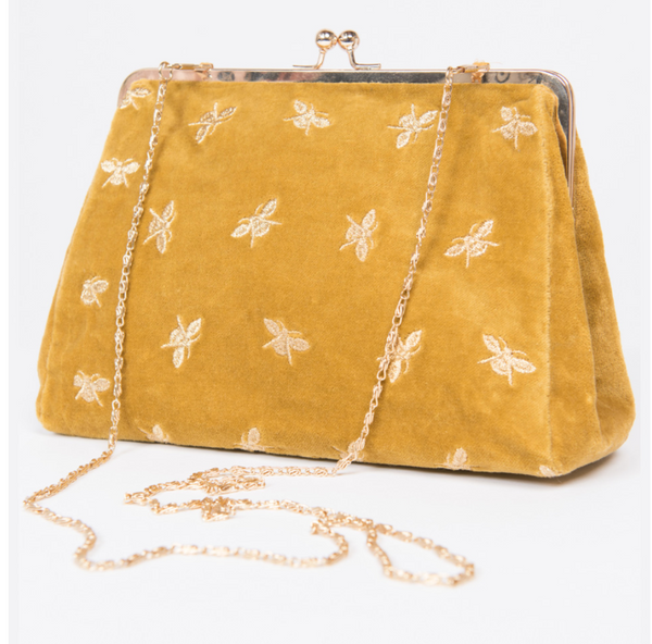 Snap Clutch Purse - Mustard Bees