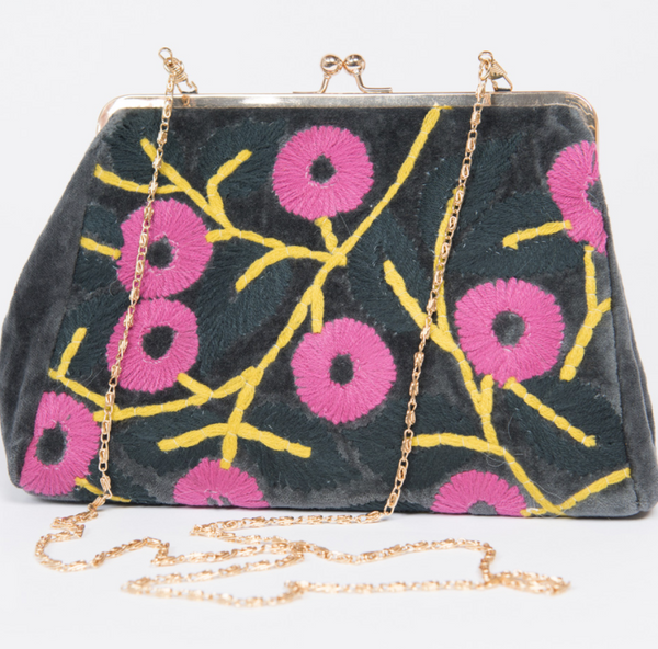 Clutch Snap Purse - Charcoal Floral