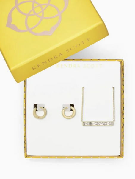 Jack Necklace+Earrings Gift Set - Gold White Crystal