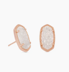 Ellie Earrings - Rose Gold/White Drusy
