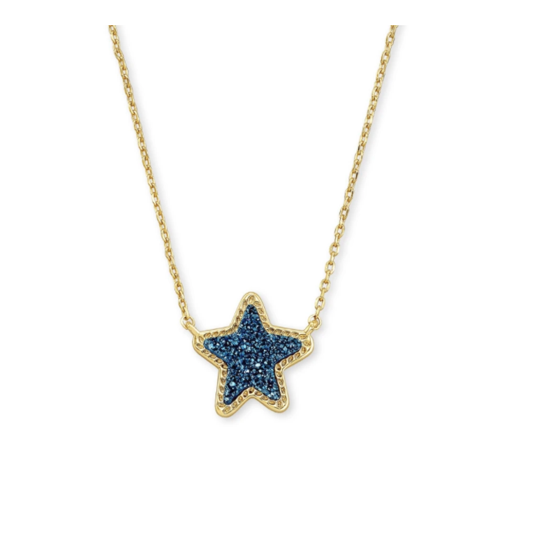 Jae Star Pendant- Gold Blue Drusy
