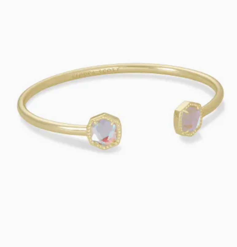 Davie Cuff Bracelet - Gold/Dichroic Glass
