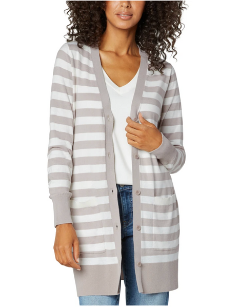 Long Sleeve Cardigan - Striped Taupe