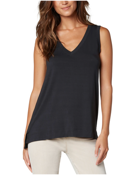 Sleeveless V-Neck Knit Tee - Black