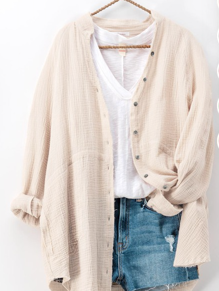 Oversized Button-Up - Oatmeal