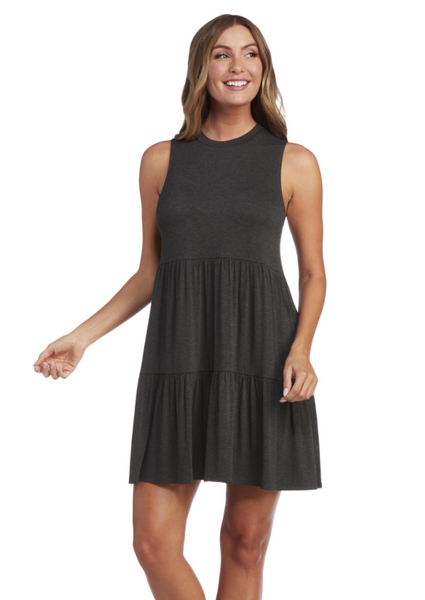 Tully Tiered Dress - Charcoal