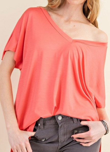 V-Neck Tee - Coral
