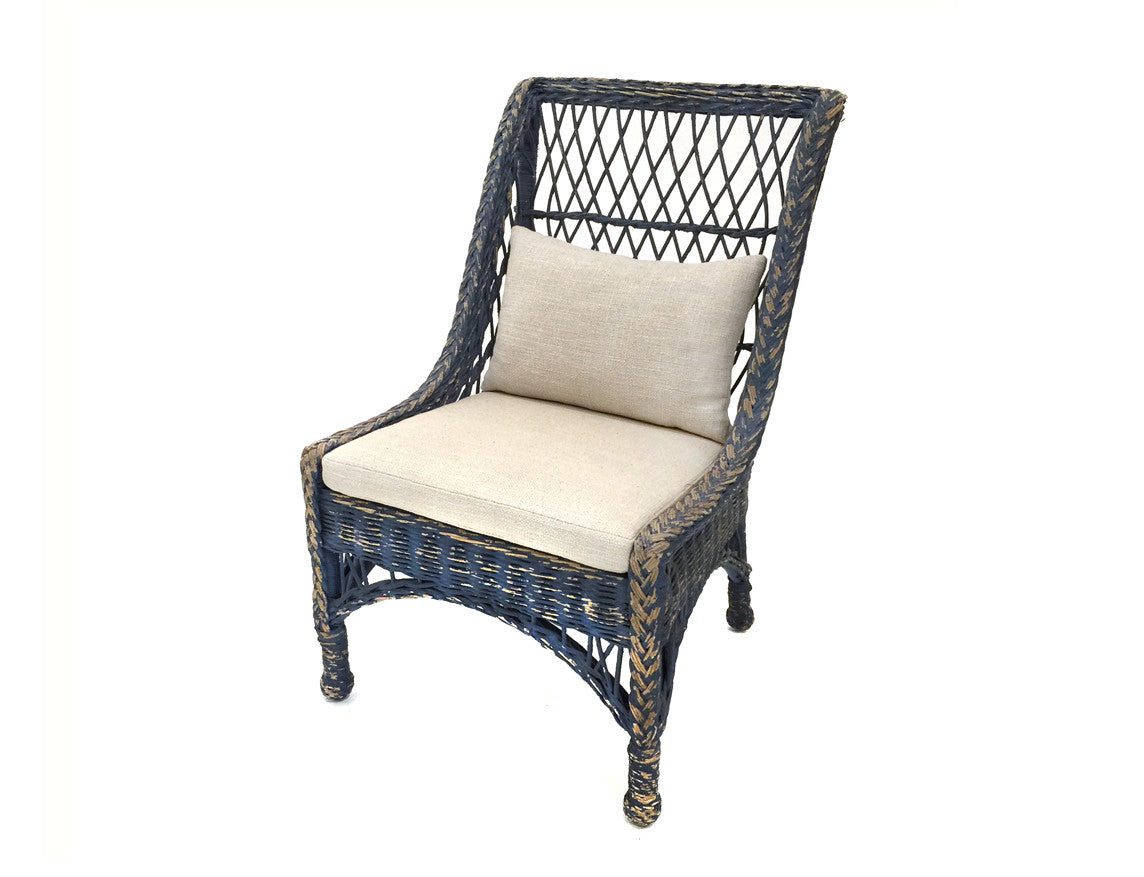 Worn Blue Wicker Chair