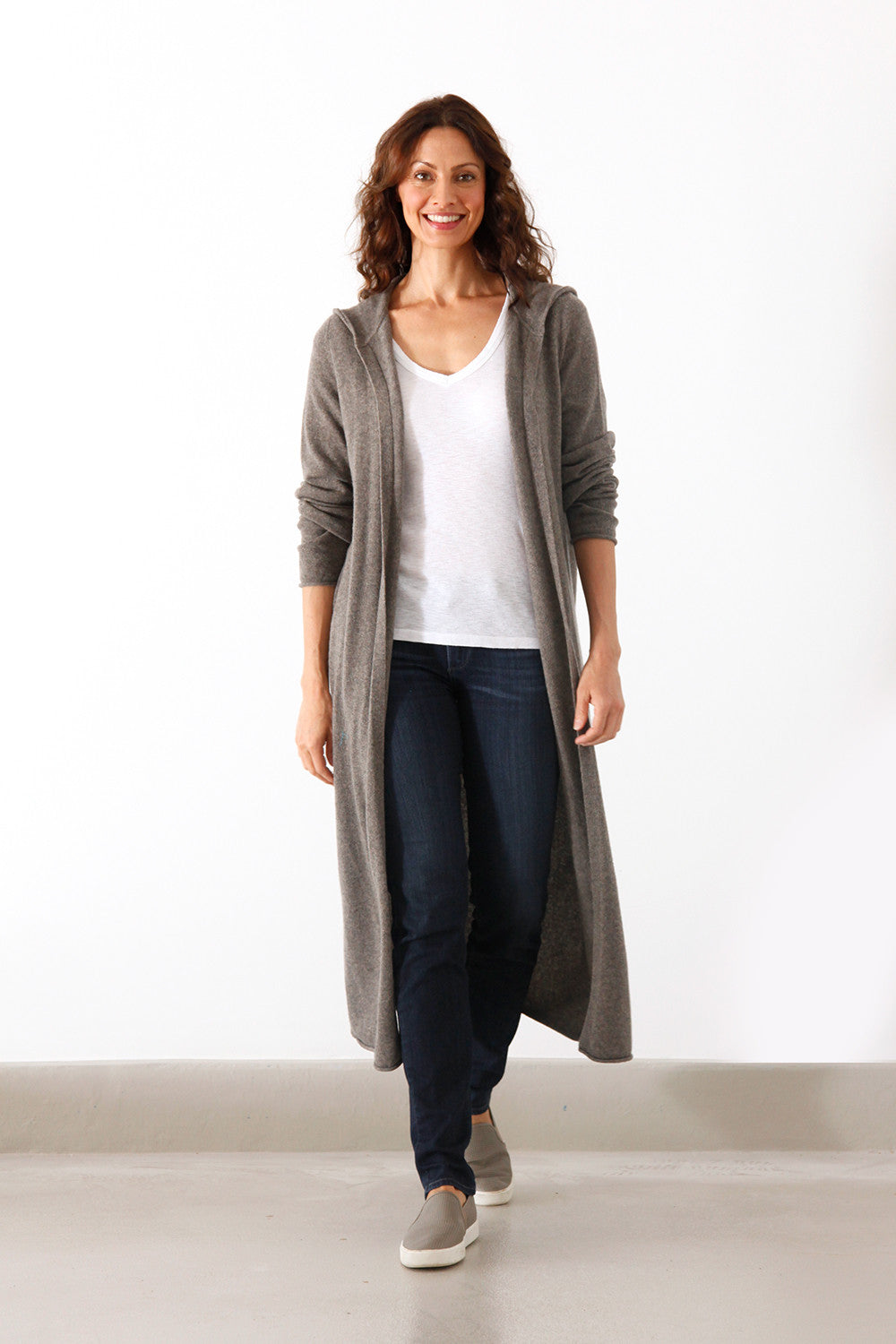 Women Cashmere Hooded Cardigan